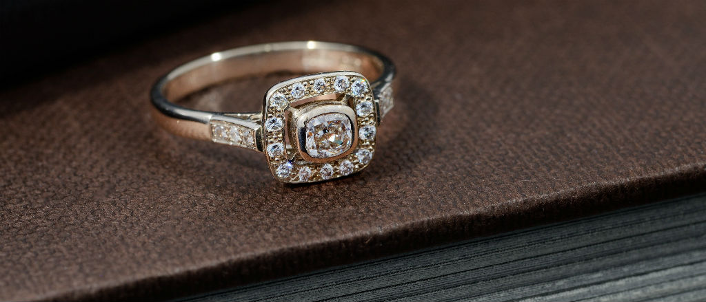 The Goldsmithy 18ct White Gold Diamond Halo Ring
