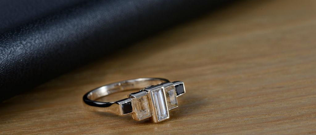 The Goldsmithy 18ct White Gold White, Black Diamond and Rutilated Quartz Art Deco Ring