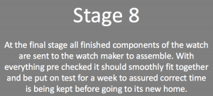 Stages of making a watch